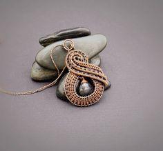 Labradorite Copper Wire Wrapped Pendant Necklace  Wire