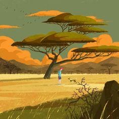 Tree Illustration, Digital Illustration, Casual Art, Autumn Aesthetic, Savannah Chat, Concept Art, Scenery, Landscape, Nature