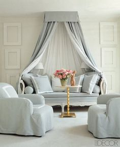 This two-tone canopy's colors would be great for curtains in our bedroom.