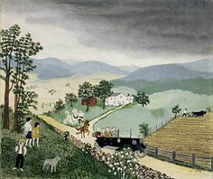 "Anna Mary Robertson ""Grandma"" Moses. Automobile, 1913. 1943. Oil on pressed wood. Signed, lower right. 17 3/4"" x 21 1/4"" (45.1 x 54 cm). Kallir 271. Private collection, courtesy Galerie St. Etienne, NY. Copyright © Grandma Moses Properties Co., NY."