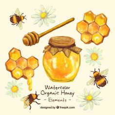 Hand painted honey jar with honeycomb  Free Vector