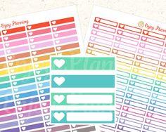 PRINTABLE Heart Header Stickers, Bright Heart Planner Stickers, Rainbow Heart Stickers, Stickers Erin Condren, Digital Planner Stickers