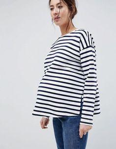3d1a5c5d9ed4a ASOS DESIGN Maternity Stripe Top In Baby Loop Back Asos Maternity, Maternity  Tops, Maternity
