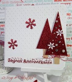 Lift d'une carte de Kath's blog ! Sapins rouges...