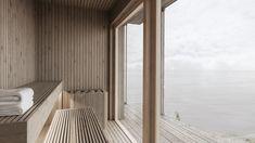 gimme shelter sauna and bath module Scandinavian Architecture, Sauna, Shelter, Sweet Home, Villa, House Design, Curtains, Bath, Furniture