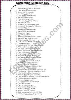 Correcting Mistakes - ESL worksheet by English Language Learning, English Grammar, Teaching English, Grammar Skills, Beauty And The Best, Grammar Worksheets, Prepositions, Upper Elementary, Esl
