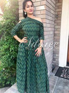 Designer Party Wear Dresses, Indian Designer Outfits, Designer Wear, Kalamkari Dresses, Ikkat Dresses, Dress Neck Designs, Blouse Designs, Frock Models, Western Dresses For Women