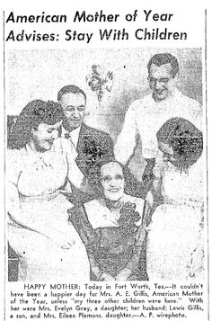 "A picture of 1949 American Mother of the Year Pearle Owens Gillis, published in the Seattle Daily Times newspaper (Seattle, Washington), 25 April 1949. Read more on the GenealogyBank blog: ""Mother of the Year Awards in the News."" http://blog.genealogybank.com/mother-of-the-year-awards-in-the-news.html"