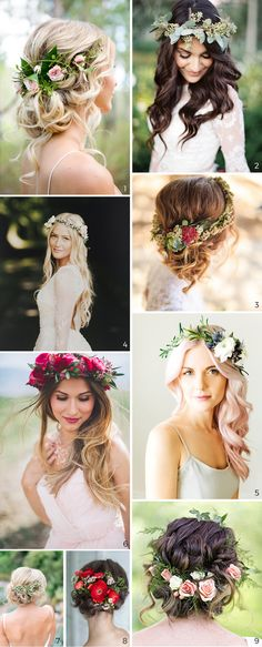9 photos of bridal hairstyles with flo The post Wedding Hairstyles: 5 Unavoidable Trends. 9 photos of bridal hairstyles with flo appeared first on Aktuelle. Boho Bridal Hair, Beach Wedding Hair, Short Wedding Hair, Wedding Hair Flowers, Flowers In Hair, Boho Wedding, Wedding Dresses, Wedding Country, Simple Flowers
