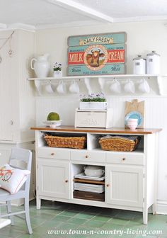 Farmhouse Kitchen Sideboard this would be great as a coffee station with the shelf above for mugs and pitchers. JS