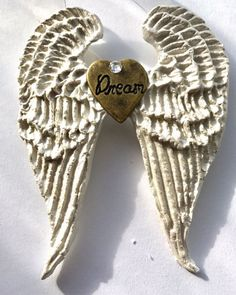 Dream Angel Wings Hand Sculpted from clay with metal heart