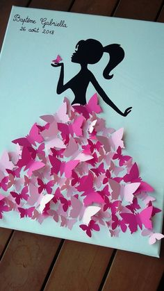 guest book - tree tree prints girl with butterflies Diy Quilling Crafts, Paper Crafts Origami, Quilling Designs, Paper Crafting, Creative Artwork, Creative Crafts, Art For Kids, Crafts For Kids, Arts And Crafts