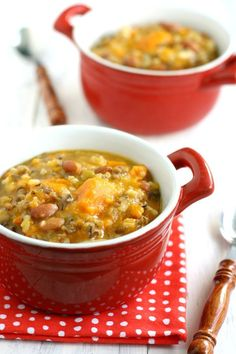 Slow Cooker Sweet Potato Wild Rice Soup. This is happening! Would probably be good with sausage for meat-eaters!
