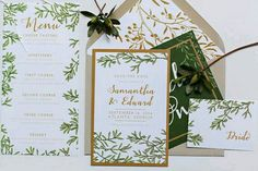 Elegant green and gold wedding invitation. Olive branch theme