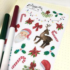 Santas Secrets Stickerset  LIMITED EDITION Aquarell Watercolor Stickerset for Bullet Journal, Filofax, Scrapbook, Pretty Planning