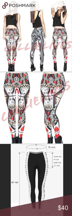 SHIPs2/7/18 Queen Hearts Illusion graphic leggings WILL NOT SHIP UNTIL 2/7/18 Queen of hearts Illusion 3D digital printed soft leggings 3D Color Stylish One Size Leggings Tights   Pants Fabric 88% Polyester 12% Spandex NOT Black Milk  I also sell Crop tops, jogger sets, catsuits, Mommy & Me, soft, fleece, brushed Velour leggings, Wow Couture, Angelica Val, Giuseppe, Balenciaga, Louis Vuitton, Prada, Moschino, BCBG, Analili, yoga workout, Cocktail, Clubwear, ripped leather jeans, Bodycon…