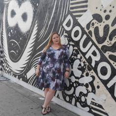 Gwynnie Bee member Kristen in the Isabel + Alice Rose Printed A-line Dress