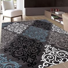 Modern Transitional Soft Damask Grey Area Rug 7'10 X 10'2- Contemporary Abstract #AbstractRugs