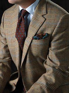Beige and Slate Glen Plaid Sport Coat with Windowpane