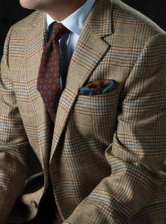 Beige and Slate Glen Plaid Sport Coat with Windowpane