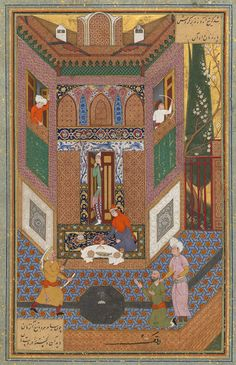 The Man and the Ruffian: Page from a manuscript of the Mantiq al-Tayr (The Language of the Birds) of Farid al-Din cAttar, ca. 1600; Safavid  Iran (Isfahan)
