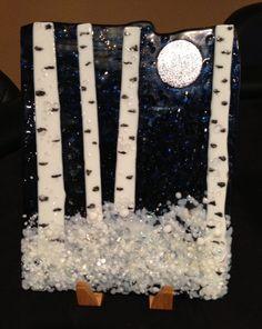 Fused Glass Winter Aspen Panel