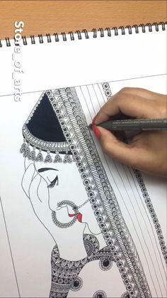 Girly Drawings, Art Drawings Sketches Simple, Pencil Art Drawings, Doodle Art Drawing, Mandala Drawing, Black Pen Drawing, Mandala Art Lesson, Mandala Artwork, Posca Art