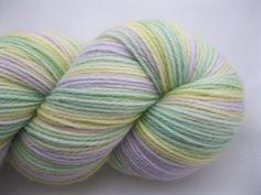 Signs of Spring - Hand Dyed Sock Yarn in pastel yellow, green, lilac - fingering weight, superwash merino wool & polyamide - 437 yards