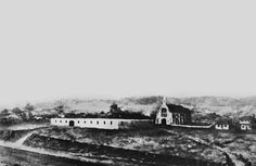 Drawing of the Female Convict Factory, Brisbane, ca. 1850, on the site of the present day General Post Office in Queen Street. St Stephen's Church is also shown. Queensland Australia