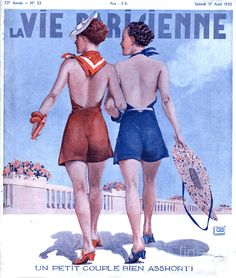 Photograph-La Vie Parisienne 1935 France magazines womens walking glamour swimwear bathing-Photograph printed in the USA French Artwork, Vintage Artwork, Vintage Illustrations, Vintage Posters, France Drawing, Jean Christophe, Advertising Archives, Bathing Costumes, 20s Fashion