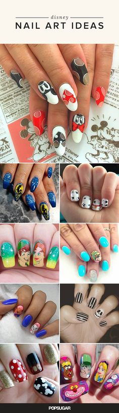 If you're looking for the best Disney manicure inspiration, these nail art ideas are for you. From princesses to mouse ears, see the cutest Disney designs. Nail Art Disney, Disney Manicure, Disney Nail Designs, Manicure Y Pedicure, Cute Nail Designs, Disney Princess Nails, Stylish Nails, Trendy Nails, Nail Design Spring