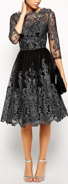 metallic lace dress: