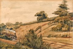 Edward W. Fitch, active 1839–1867, [Landscape with train], 1854, Watercolor, graphite and gum arabic on medium, slighlty textured, beige wove paper, Yale Center for British Art, Gift of Robert and Frances Chapman
