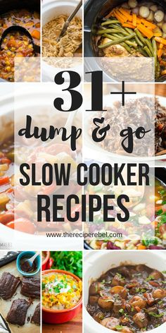 19 Dump and Go Slow Cooker Recipes (Crock Pot Dump Meals) These Dump and Go Slow Cooker Recipes require no cooking or browning beforehand — simply throw it in and walk away! Easy crock pot dump meals for busy weeknights and back to school! Crockpot Dump Recipes, Healthy Crockpot Recipes, Slow Cooker Recipes, Beef Recipes, Cooking Recipes, Crock Pot Dump Meals, Dump Dinners, Cheap Crock Pot Recipes, Freezer To Crockpot Meals