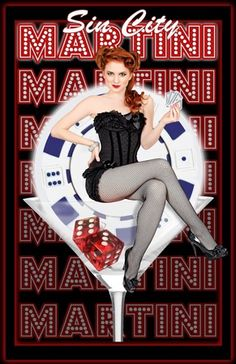 Sin City Martini | Al Abbazia print #pinupartsource #pinup