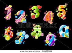 Colorful children numbers and digits with toys and embellishments, such a logo.  Jpeg version also available in gallery