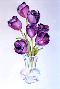 Watercolor painting of purple tulips. Tulips In Vase, Purple Tulips, Tulips Flowers, Tulip Drawing, Tulip Painting, Painting Flowers, Drawing Flowers, Watercolor Flowers, Watercolor Cards