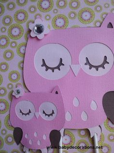 Mommy And Baby Owl Cake Topper in Pink and Brown, or pick your own colors - http://www.babydecorations.net/mommy-and-baby-owl-cake-topper-in-pink-and-brown-or-pick-your-own-colors.html