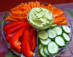 Veggies dipped in guacamole (pre-made guac available in grocery store).