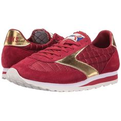 Brooks Heritage Vanguard (Red Dahlia/Gold) Women's Running Shoes (290 ILS) ❤ liked on Polyvore featuring shoes, athletic shoes, laced shoes, gold shoes, lace up shoes, gold wedges shoes and brooks footwear