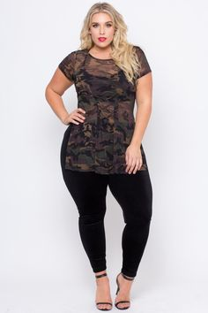 Thisplus size, stretch knitlegging features an elasticized waist, a soft velvet fabric, and a skinny leg.  Content + Care 92% Polyester 8% Spandex Machine wa