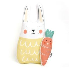 bunny and carrot soft toy Softies, Little Ones, Carrots, Bunny, Pillows, Christmas Ornaments, Holiday Decor, Unique, Canvas