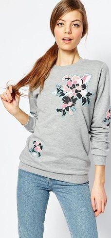 Sudadera con detalle de bordado floral de ASOS asos el-gris
