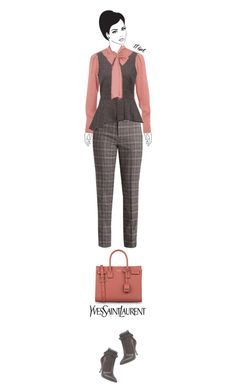 Office outfit: Taupe - Peach by downtownblues on Polyvore #officewear  #pussybow  #peplumtop  #Sleeveless  #plaid #AlbertaFerretti #saintlaurent
