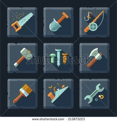 Cartoon vector flat relief game icon set on stone. Tools and supplies: saw, shovel, fishing rod, hook, hammer, nail, ax, brush, planer, wrench, screwdriver, bolt, screw. - stock vector