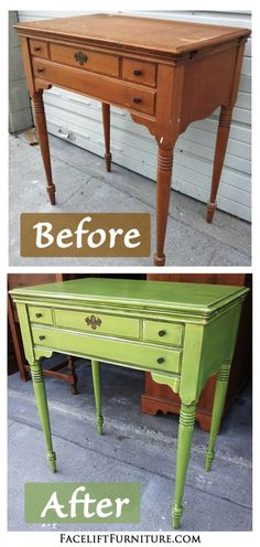 Lime Green Antique Sewing Table - Before & After.  From Facelift Furniture's DIY Blog.
