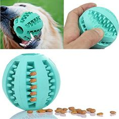 Toy Ball for Dogs - Dental Treat, Bite Resistant, Indestructible Non-Toxic Strong Tooth Cleaning Dog Toy Balls for Pet Training, Playing, Chewing - Soft Rubber, Bouncy, Tennis Ball >>> To view further for this item, visit the image link.