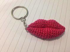 Lips amigurumi keychain, crochet lips keychain