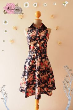 Floral Tea Dress Navy Floral Summer Bridemaid Dress by Amordress
