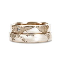 Original wedding rings with world map. These rings can be made only upon individual order. You can change all rings parameters (color, size, stones). Before producing well send the 3d model of your rings (with all the changes you want to make) and only after approval well start the production process. Well ask you to make prepayment 50% and only after your rings will be finished you have to pay second part. - 14k gold - any stones you want - free gift box The price for pair of rings is…